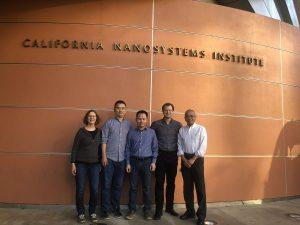 The research team: Juli Feigon, Yaqiang Wang, Jiansen Jiang, Lukas Susac and Z. Hong Zhou (left to right) in front of the California NanoSystems Institute at UCLA